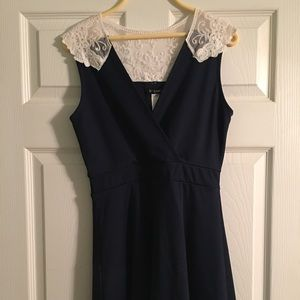 Modcloth Navy Blue Lace Top Mini Dress Small Cute